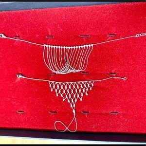 Jewelry - Beautiful anklet and bracelet set. Rhinestone/blue